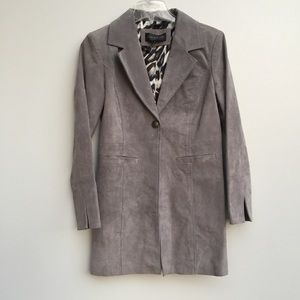 Live A Little Suede Leather Trench Coat Gray Small